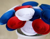Red White and Blue Paper Flower Centerpiece, Patriotic Centerpiece, Made in the USA