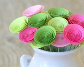 Valentines Gift; 24 Mini Paper Flowers in Pink and Green; Unique Valentines Day Decor; Gift for Her; Gift under 50; Galentines Day Gift
