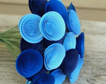 Stormy Blues Bouquet; Mini Blue Paper Flowers in Royal Blue, Navy, Cornflower