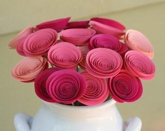 Mini Pink Paper Flowers, Baby Shower Centerpiece, Pink Nursery Decor, Girl Baby Shower