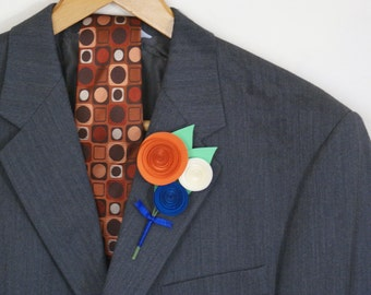 Men's Boutonniere - Wedding Paper Flower Boutonniere with Pin in Pumpkin Orange, Royal Blue, and Ivory - Traditional Boutonniere Style