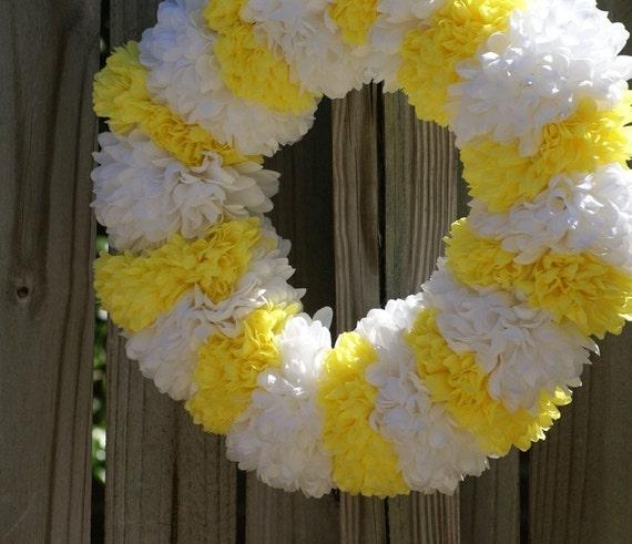 Yellow & White Flower Wreath 16 inch SALE was 25 Dollars