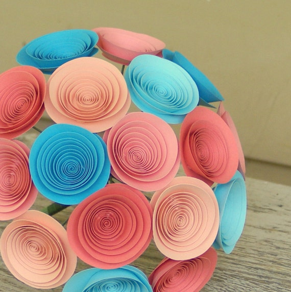 Coral and Aqua Paper Flower Bouquet, Medium Bouquet in Coral, Peach and Aqua