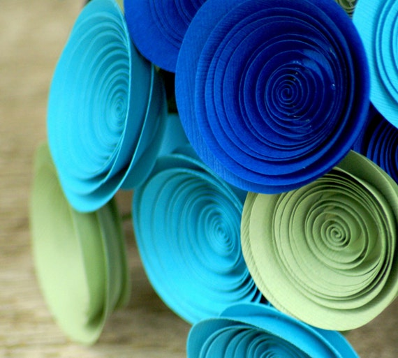 Peacock Inspired Paper Flowers in Royal Blue, Turquoise and Sage, Paper Bouquet in Peacock Colors
