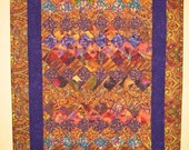 Reserved for Tricia-Orange and Purple Contemporary Abstract Art Quilt Fabric Wall Hanging