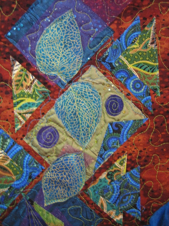 Blue Art Deco Abstract Art Quilt Fabric Wall By Tahoequilts