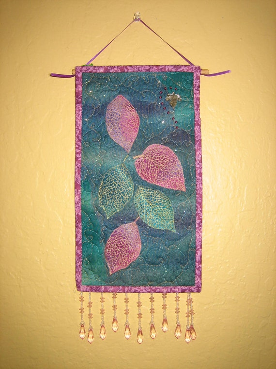 Turquoise and Pink Leaves Art Quilt Wall Hanging