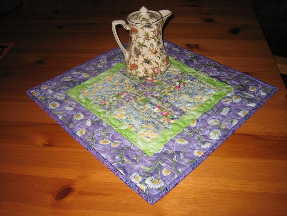 Quilted Table Topper Shabby Chic Purples and Green