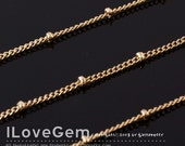 Gold-plated, 135 Curb with 2mm beads chain, 3 Meters