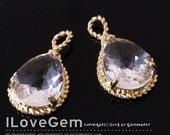 SALE / 10pcs /  B083 Gold-plated, Clear, Glass, Pear Cut drop pendant