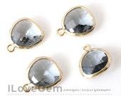 SALE/ 10pcs / Gold plated, Black Diamond, Glass fancy rosecut 12.5mm