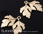 NP-944 Pewter, Matt Gold Plated, 2-Leaf, Pendant, 2pcs