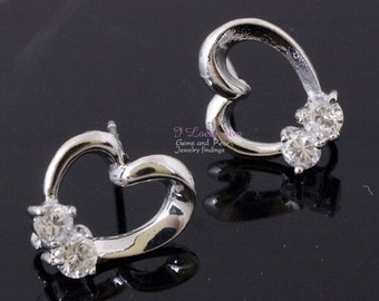 P1505 ver2.0 Nickel free Rhodium-plated, open heart(CZ) earring, 925 sterling silver post, 2pcs