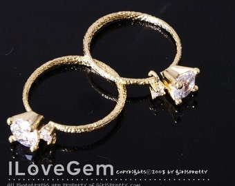 R123 Gold plated, 2-CZ adjustable Ring, 1pc