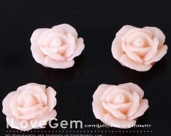 GE-3335 Resin (Lt. Pink) Rose Flower 13mm Cabochon, 10pcs
