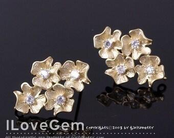 P1003 Matt Gold plated 4-Flower earring, 925 sterling silver post, 2pcs