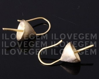 NP-609 Matt Gold plated, Simple cap with peg earwire, 925 sterling silver earwire, 2pcs