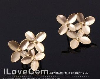 SALE / 6pcs /  NP-232 Matt Gold plated Cherry blossom earring, 925 sterling silver post