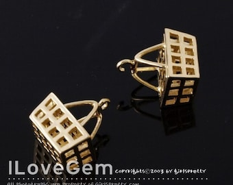 Matt.Gold-plated, Picnic basket charm. 4pcs