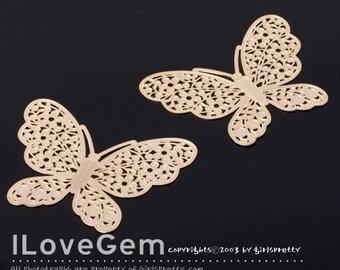 NP-231 Matt Gold-plated Butterfly Laser Filligree connector, 2pcs