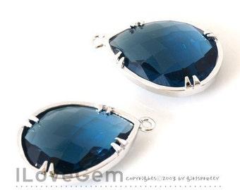 SALE / 10pcs / B058 Rhodium-plated, Sapphire Blue, Glass drop