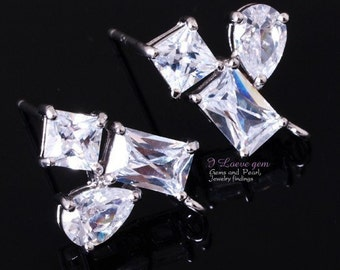 P618 Nicekl free Rhodium-plated, Clear, Cubic zirconia earring, 925 sterling silver post, 2pcs