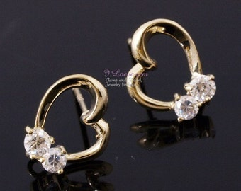 P1505  ver2.0 Nickel free Gold-plated open heart(CZ) earring, 925 sterling silver post, 2pcs