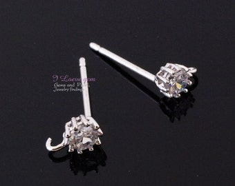 NP-1404  Nickel free Rhodium-plated, 3mm Cubic Zirconia earring, 925 sterling silver post, 4pcs