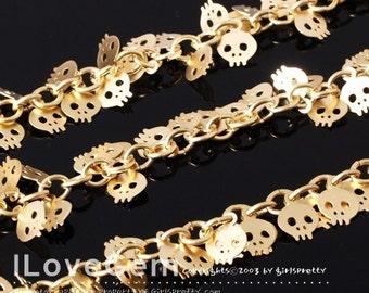 Chain, Matt.Gold-plated, Mini Skull dangle, Sold per pkg of 50cm