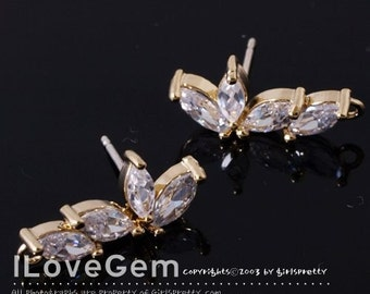 NP-683 Gold plated, Cubic zirconia earring, 925 sterling silver post, 2pcs