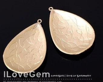NP-392 M.Gold-plated vintage teardrop pendant, 2pcs