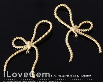 SALE/ 10pcs / NP-790 Matt.Gold-plated, Bow charm with Twisted Wire
