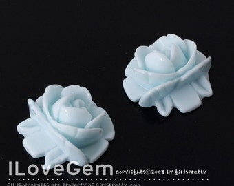 GE-3461 Resin (Milk Skyblue) Flower 18mm Cabochon, 8pcs