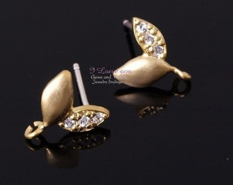NP-421 M.Gold-plated MINI sprout earring, 925 sterling silver post, 2pcs