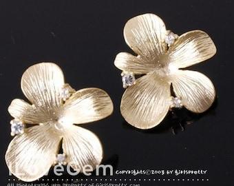 NP-869 Matt Gold-plated, Flower earrings, 925 sterling silver post, 2pcs