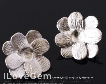 NP-733 Matt.Rhodium-plated, Double layered flower earring, 925 sterling silver post, 2pcs