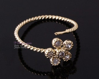 Gold Flower CZ adjustable Ring, 1pc