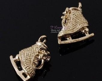 Gold-plated, mini skate charm, 2pcs