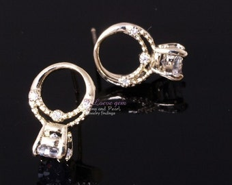 P24E Nickel free Gold-plated mini Ring earring, 925 sterling silver post, 2pcs