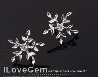P867 Matt.Rhodium-plated, snowflake earring, 925 sterling silver post, 2pcs