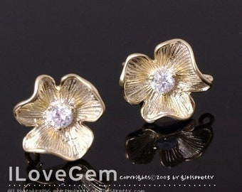 SALE/ 10pcs / P1004 M.Gold-plated 1-Cubic zirconia Flower earring, 925 sterling silver post