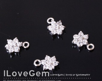 NP-826 Rhodium-plated, SMALL Flower, Cubic zirconia, dangle, 2pcs