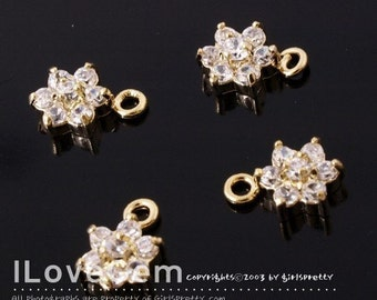 NP-826 Gold-plated, SMALL Flower, Cubic zirconia, dangle, 2pcs