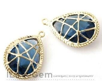 B076 Gold-plated, Sapphire Blue, Glass drop pendant, 2pcs