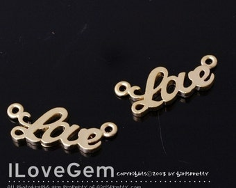 Matt Gold-plated, mini Love initial pendant, 2pcs