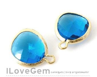 SALE/ 10pcs /  Gold plated, Capri Blue, Glass fancy rosecut 12.5mm