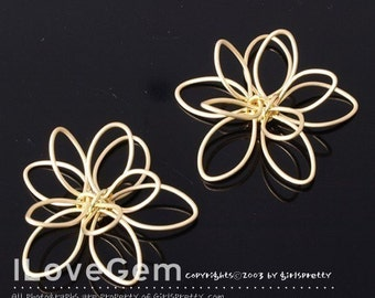 ver2.0 NP-827 Matt.Gold-plated, Double flower, pendant. 2pcs