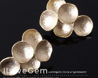 NP-763 Matt Gold plated, Grape earring, 925 sterling silver post, 2pcs