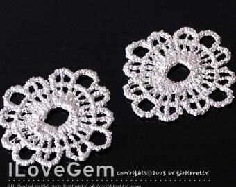 SALE / 10 pcs / NP-910 Pewter, Matt Rhodium-plated, Flower lace Pendant