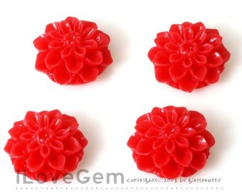 GE-3490 Resin (Red) Chrysanthemum Flower Cabochon, 8pcs